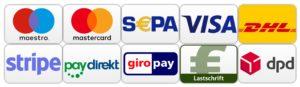 Zahlungsabwicklung Green Vita Organics Sepa Visa Mastercard Giropay Lastschrift Versand DHL DPD
